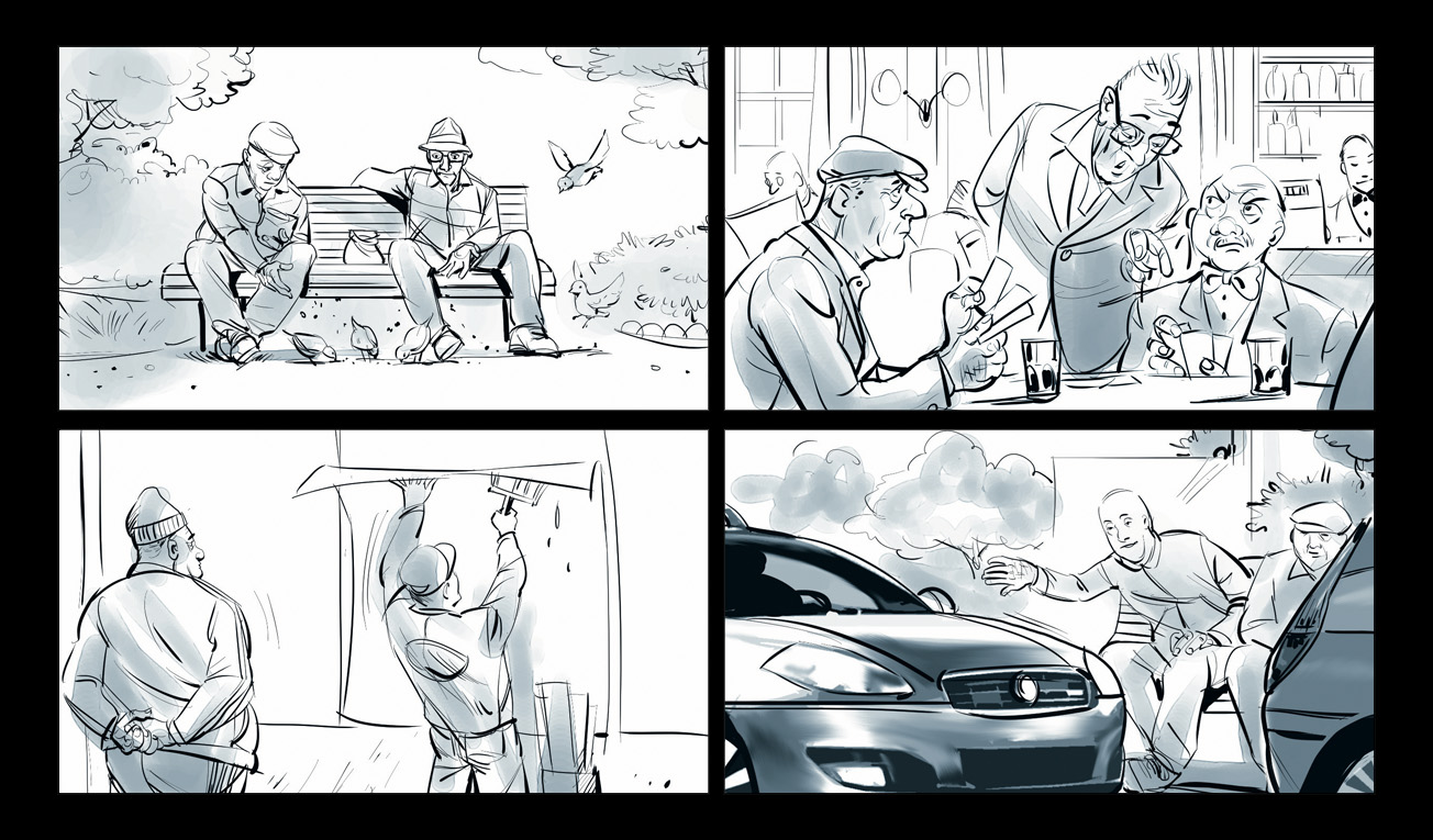 B/W & COLORED STORYBOARDS
